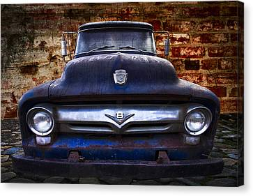 Tn Barn Canvas Print - 1956 Ford V8 by Debra and Dave Vanderlaan