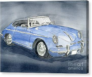 Canvas Print featuring the painting 1956 Porche 356b Roadster by Eva Ason