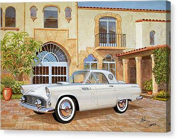 1956 Thunderbird At Palm Beach  Classic Vintage Ford Art Sketch Rendering          Canvas Print by John Samsen