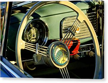 1956 Volkswagen Vw Bug Steering Wheel 2 Canvas Print by Jill Reger