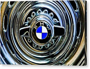Bmw Vintage Cars Canvas Print - 1957 Bmw Wheel Emblem by Jill Reger