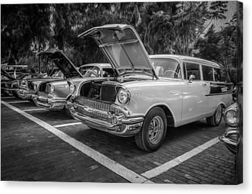 1957 Chevrolet 210 2 Door Stationwagon Painted Bw    Canvas Print by Rich Franco
