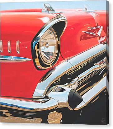 57 Chevy Canvas Print - 1957 Chevrolet Bel Air by Branden Hochstetler