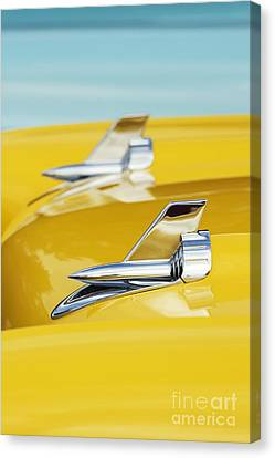 1957 Chevrolet Bel Air Hood Rockets Canvas Print by Tim Gainey
