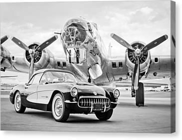 1957 Chevrolet Corvette - B 17 Bomber Canvas Print by Jill Reger