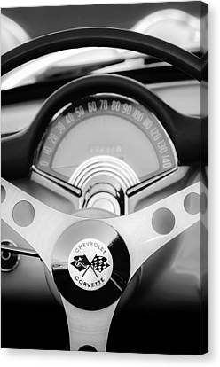 1957 Chevrolet Corvette Convertible Steering Wheel 2 Canvas Print by Jill Reger