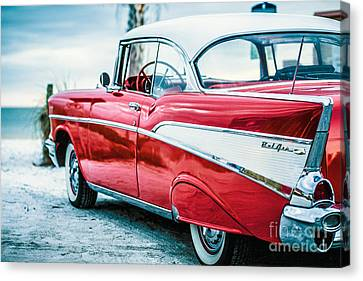 White Chevy Canvas Print - 1957 Chevy Bel Air by Edward Fielding