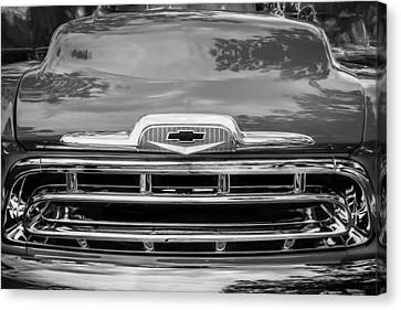 1957 Chevy Pick Up Truck 3100 Series Painted Bw    Canvas Print