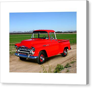 Opposing Forces Canvas Print - 1957 Chevrolet 3100 Pick Up Truck by Jack Pumphrey