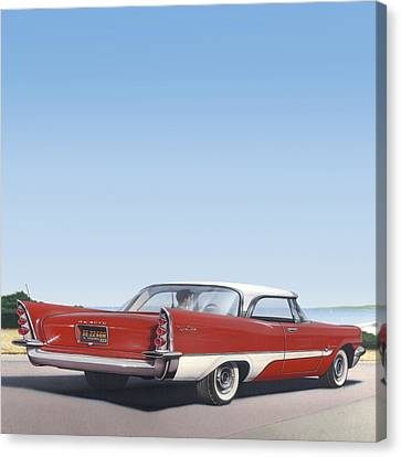 1957 De Soto - Square Format Image Picture Canvas Print by Walt Curlee