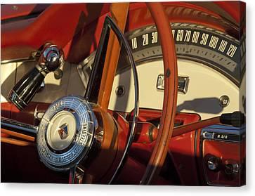 1957 Ford Fairlane 500 Skyliner Retractable Hardtop Convertible Steering Wheel Canvas Print