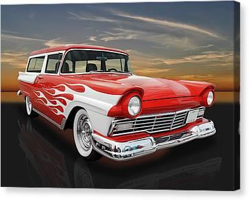 Custom Ford Canvas Print - 1957 Ford Ranch Wagon -  57fordrnchwag by Frank J Benz
