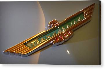 Antique Automobiles Canvas Print - 1957 Ford Thunderbird Emblem by Joseph Skompski