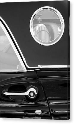 1957 Ford Thunderbird Window Black And White Canvas Print by Jill Reger