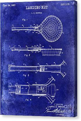1957 Landing Net Patent Drawing Blue Canvas Print