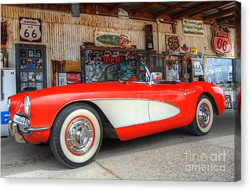 1957 Little Red Corvette Route 66 Canvas Print by Bob Christopher