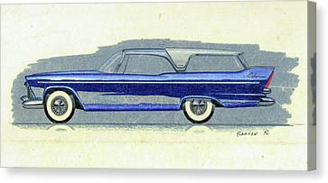 1957 Plymouth Cabana  Station Wagon Styling Design Concept Sketch Canvas Print