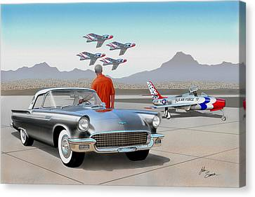 1957 Thunderbird  With F-84 Gunmetal Vintage Ford Classic Art Sketch Rendering           Canvas Print by John Samsen