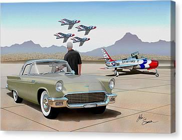 1957 Thunderbird  With F-84 Thunderbirds Inca Vintage Ford Classic Art Sketch Rendering            Canvas Print by John Samsen