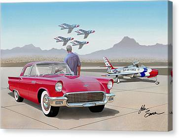 1957 Thunderbird  With F-84 Thunderbirds  Red  Classic Ford Vintage Art Sketch Rendering         Canvas Print by John Samsen