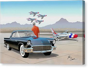 1957 Thunderbird  With F-84 Thunderbirds Vintage Ford Classic Car Art Sketch Rendering          Canvas Print by John Samsen