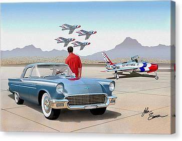 1957 Thunderbird  With F84 Thunderbirds  Azure Blue  Classic Rendering  Canvas Print by John Samsen