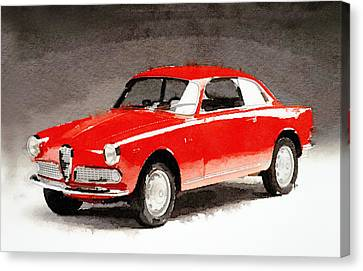 1958 Alfa Romeo Giulietta Sprint Watercolor Canvas Print by Naxart Studio