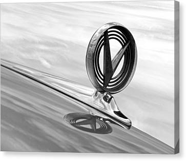 1958 Buick Roadmaster 75 Hood Ornament Black And White Canvas Print by Gill Billington
