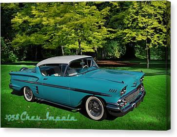 1958 Chev Impala Canvas Print by Richard Farrington