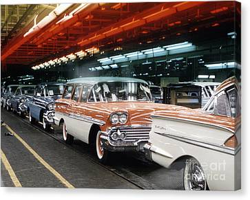 1958 Chevrolet Automobile Assembly Line Canvas Print by The Harrington Collection