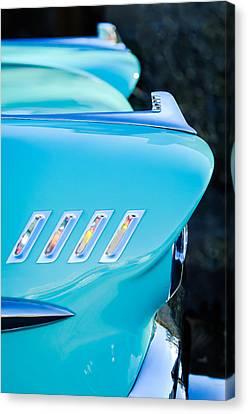 1958 Chevrolet Belair Hood Ornament Canvas Print by Jill Reger