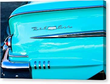 1958 Chevrolet Belair Tail Emblem Canvas Print by Jill Reger