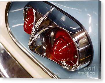 1958 Chevrolet Taillight In Baby Blue And Chrome Canvas Print by The Harrington Collection