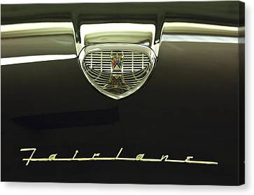 1958 Ford Fairlane 500 Victoria Hood Ornament Canvas Print by Jill Reger