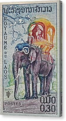 1958 Laos Elephant Stamp Canvas Print
