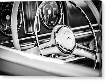 1958 Mercedes-benz 300sl Roadster Steering Wheel -1131bw Canvas Print