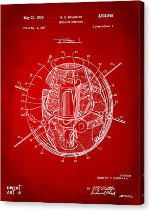 1958 Space Satellite Structure Patent Red Canvas Print by Nikki Marie Smith