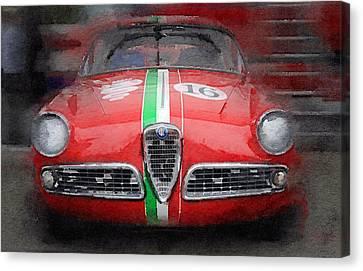 1959 Alfa Romeo Giulietta Watercolor  Canvas Print by Naxart Studio