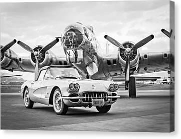 1959 Chevrolet Corvette - B-17 Bomber Canvas Print by Jill Reger