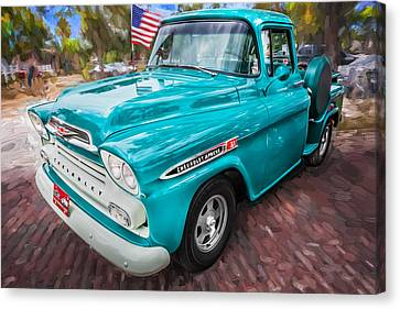 1959 Chevy Pick Up Truck Apache Series Painted Canvas Print by Rich Franco