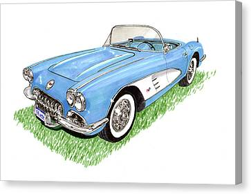 1959 Corvette Frost Blue Canvas Print