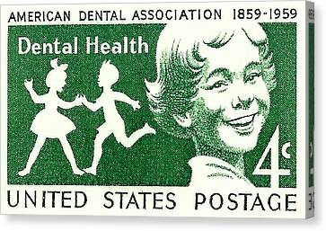 1959 Dental Health Postage Stamp Canvas Print by David Patterson