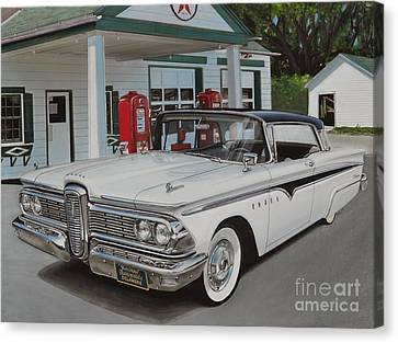 Old Shed Canvas Print - 1959 Edsel Ranger by Paul Kuras
