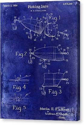 1959 Fish Lure Patent Drawing Blue Canvas Print