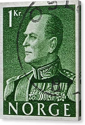1959 King Olav V Norway Stamp - Oslo Postmark Canvas Print by Bill Owen