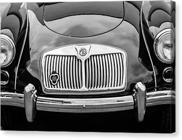 1959 Mg A 1600 Roadster Front End -0055bw Canvas Print by Jill Reger