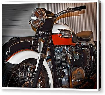 Canvas Print featuring the photograph 1959 Triumph Motorcycle by Steve Benefiel