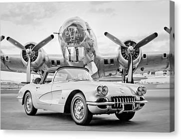 1960 Chevrolet Corvette - B-17 Bomber Canvas Print