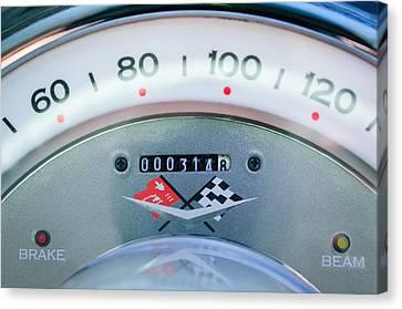 Speedometer Canvas Print - 1960 Chevrolet Corvette Speedometer by Jill Reger