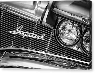 1960 Chrysler Imperial Grille Emblem -0269bw Canvas Print